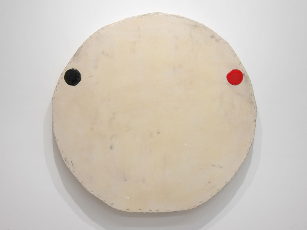 ap_otis_jones_White-with-One-Black-One-Red-Circle-2018-Acrylic-on-Canvas-on-Wood-39-x-39.5-x-3.25-in-99-x-100.3-x-8.3-cm_front